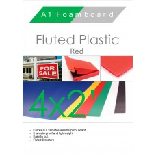 4' x 2' (1220 x 610mm) Red Fluted Plastic Sheet