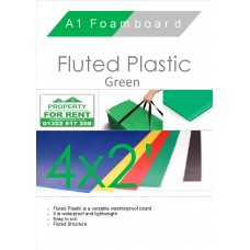 4' x 2' (1220 x 610mm) Green Fluted Plastic Sheet