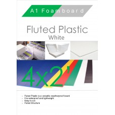 4' x 2' (1220 x 610mm) White Fluted Plastic Sheet