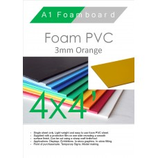 4' x 4' (1220 x 1220mm) 3mm Foam PVC Orange
