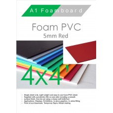 4' x 4' (1220 x 1220mm) 5mm Foam PVC Red