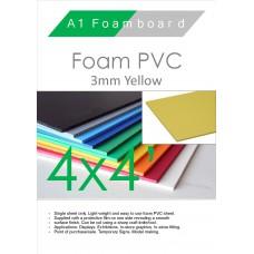 4' x 4' (1220 x 1220mm) 3mm Foam PVC Yellow
