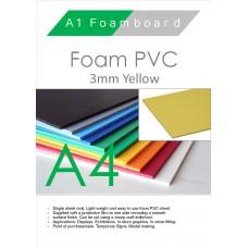 A4 3mm Foam PVC Yellow