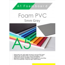 A5 5mm Foam PVC Grey