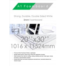 20 x 30 inches 508mm x 762mm 3mm White FoamBoard Packed 30 Sheets