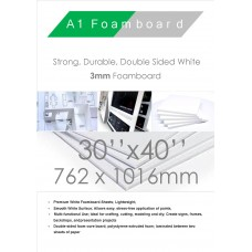 30 x 40 Iinches 762mm x 1016mm 3mm White Foamboard Packed 15s Small Box