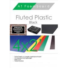 4' x 2' (1220 x 610mm) Black Fluted Plastic Sheet