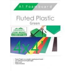 4' x 4' (1220 x 1220mm) Green Fluted Plastic