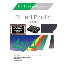 4' x 4' (1220 x 1220mm) Black Fluted Plastic Sheet