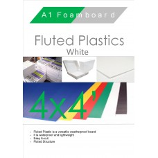 4' x 4' (1220 x 1220mm) White Fluted Plastic Sheet