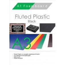 A3 Black Fluted Plastic Sheet