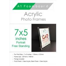7'' x 5'' Portrait Freestanding Acrylic Photo Frame