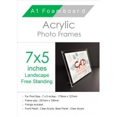 7'' x 5'' Landscape Free Standing Acrylic Photo Frame