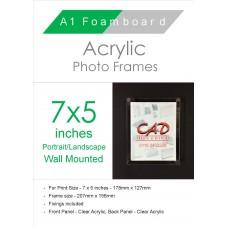 7'' x 5'' Landscape/Portrait Wall mounted Acrylic Photo Frame