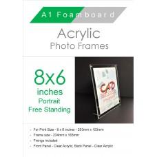 8'' x 6'' Portrait Free Standing Acrylic Photo Frame