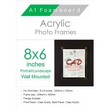 8'' x 6'' Landscape/Portrait Wall Mounted Acrylic Photo Frame