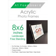 8'' x 6'' Landscape Free Standing Acrylic Photo Frame