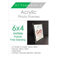 6'' x 4'' Portrait Acrylic Freestanding Photo Frame