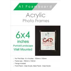 6'' x 4'' Landscape/Portrait Wall Mounted Acrylic Photo Frame