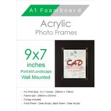 9'' x 7'' Landscape/Portrait Wall Mounted Acrylic Photo Frame
